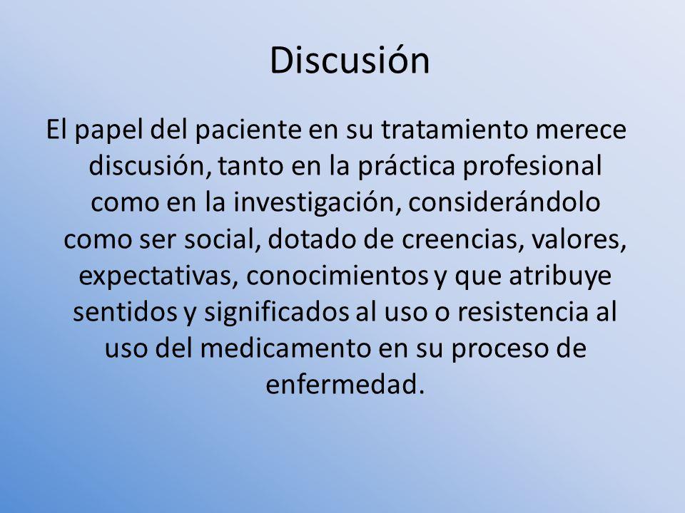 El papel del paciente en su tratamiento merece discusión, tanto en la práctica profesional como en la investigación, considerándolo como ser social, d