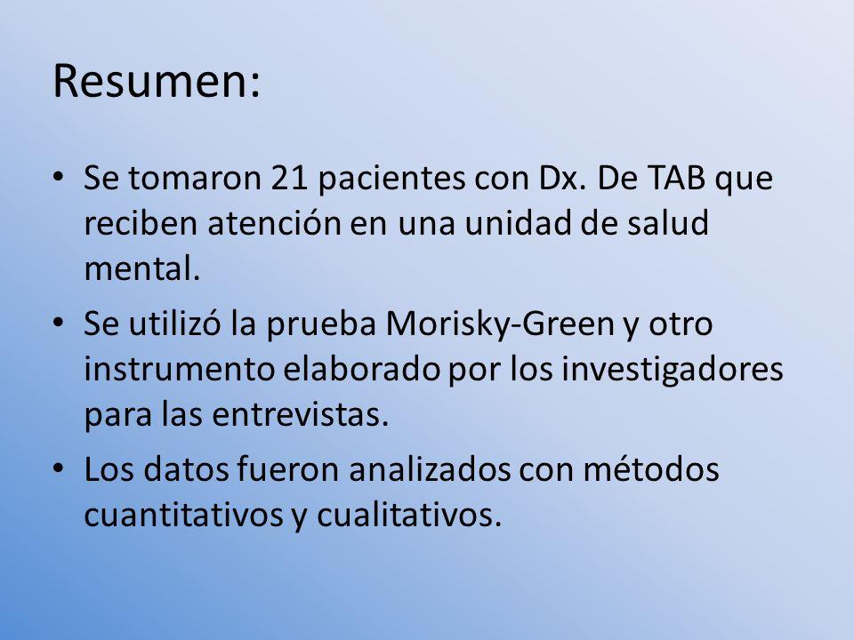 Resumen: Se tomaron 21 pacientes con Dx. De TAB que reciben atención en una unidad de salud mental. Se utilizó la prueba Morisky-Green y otro instrume