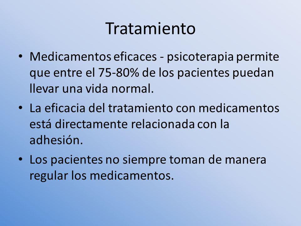 Tratamiento Medicamentos eficaces - psicoterapia permite que entre el 75-80% de los pacientes puedan llevar una vida normal. La eficacia del tratamien