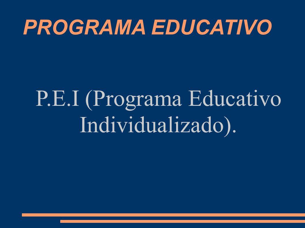 PROGRAMA EDUCATIVO P.E.I (Programa Educativo Individualizado).