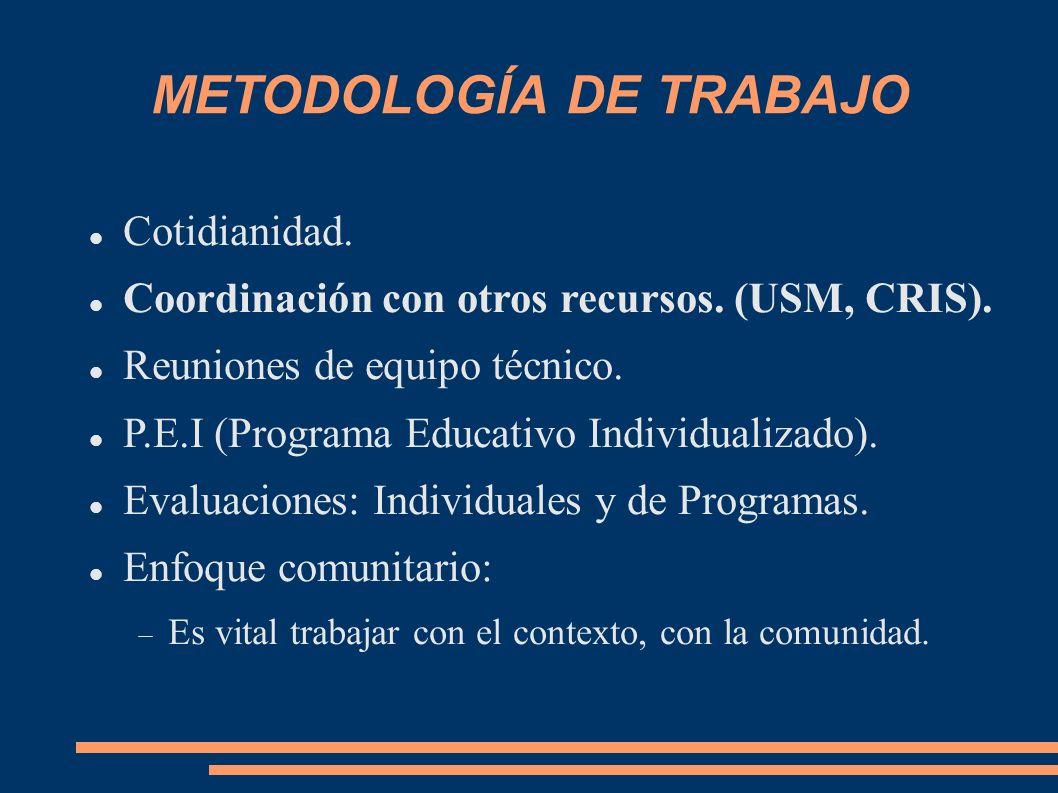 METODOLOGÍA DE TRABAJO Cotidianidad. Coordinación con otros recursos. (USM, CRIS). Reuniones de equipo técnico. P.E.I (Programa Educativo Individualiz