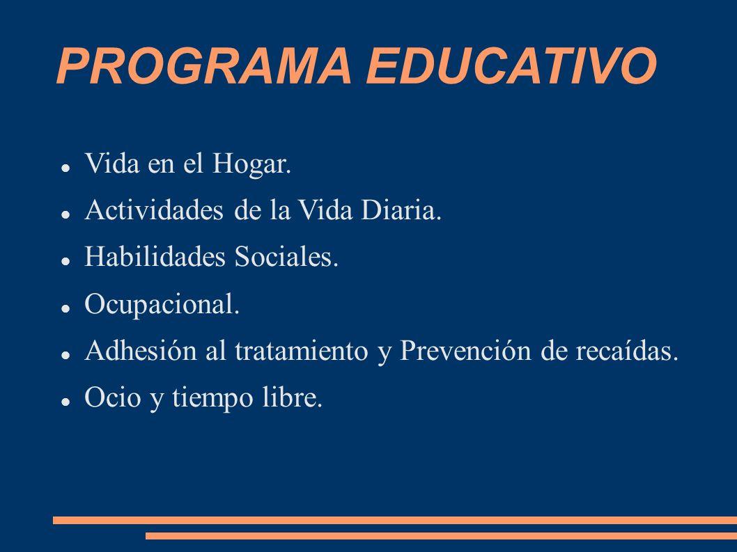 PROGRAMA EDUCATIVO Vida en el Hogar. Actividades de la Vida Diaria. Habilidades Sociales. Ocupacional. Adhesión al tratamiento y Prevención de recaída