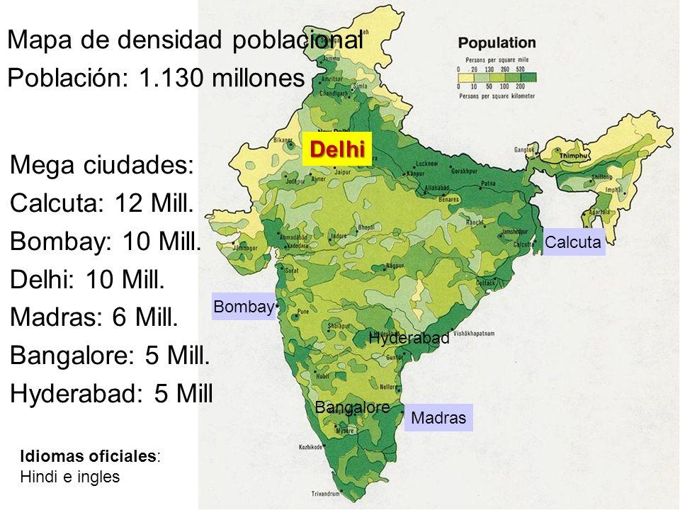 Mapa de densidad poblacional Población: 1.130 millones Mega ciudades: Calcuta: 12 Mill. Bombay: 10 Mill. Delhi: 10 Mill. Madras: 6 Mill. Bangalore: 5