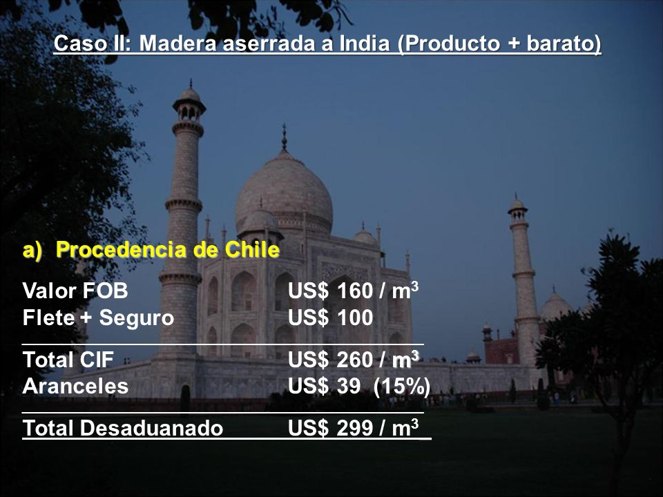 a)Procedencia de Chile Valor FOBUS$ 160 / m 3 Flete + SeguroUS$ 100 ________________________________________________________ m 3 Total CIFUS$ 260 / m