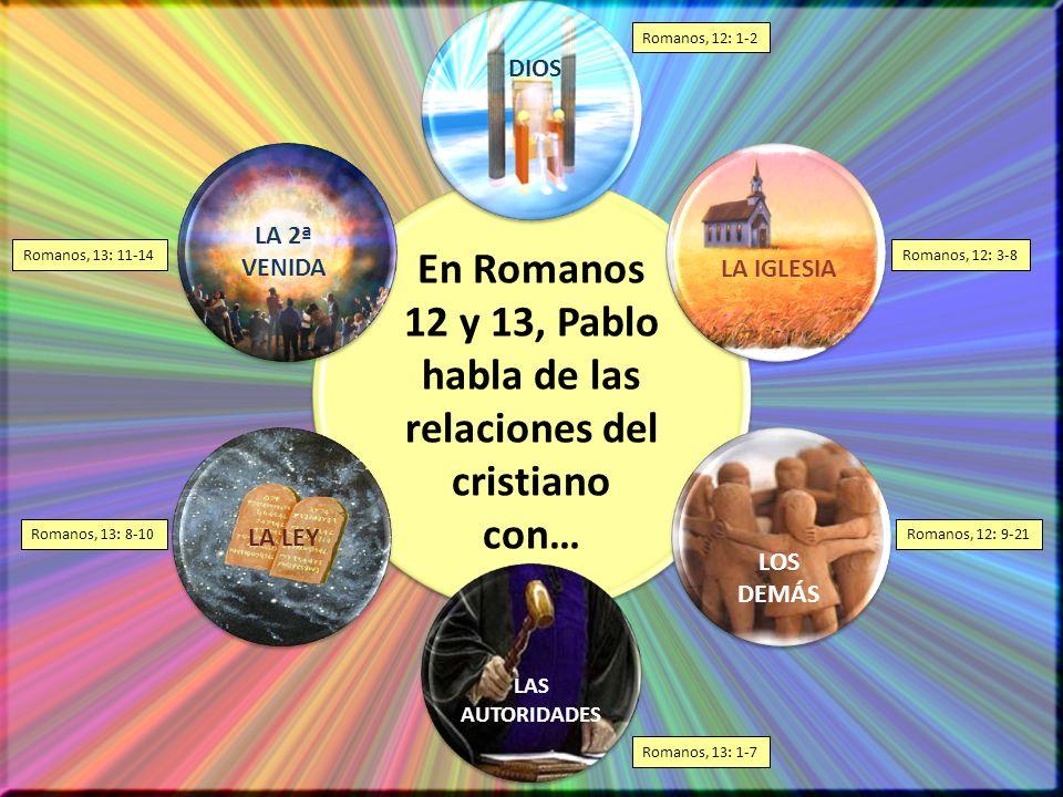 Romanos, 12: 1-2 Romanos, 12: 3-8 Romanos, 12: 9-21 Romanos, 13: 1-7 Romanos, 13: 8-10 Romanos, 13: 11-14 En Romanos 12 y 13, Pablo habla de las relac