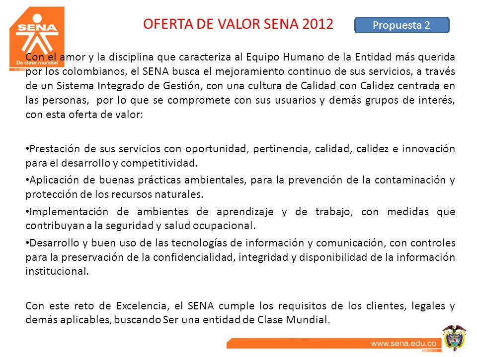 OFERTA DE VALOR SENA 2012 Con el amor y la disciplina que caracteriza al Equipo Humano de la Entidad más querida por los colombianos, el SENA busca el