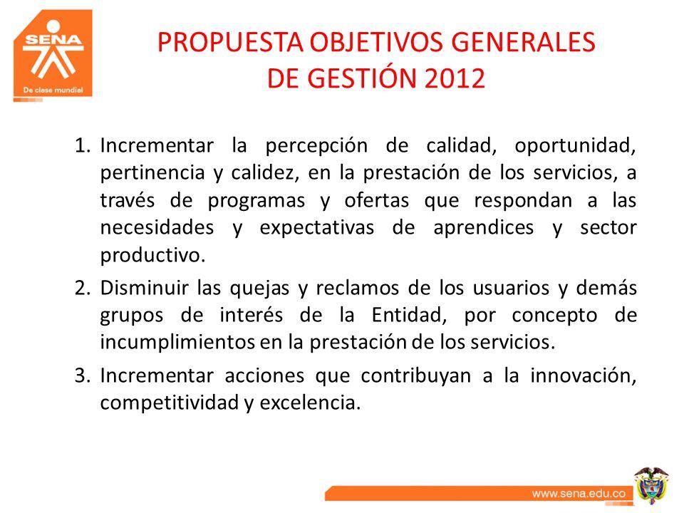 PROPUESTA OBJETIVOS GENERALES DE GESTIÓN 2012 1.Incrementar la percepción de calidad, oportunidad, pertinencia y calidez, en la prestación de los serv