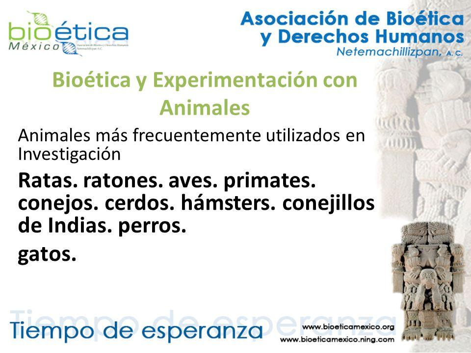 Bioética y Experimentación con Animales Animales más frecuentemente utilizados en Investigación Ratas. ratones. aves. primates. conejos. cerdos. hámst