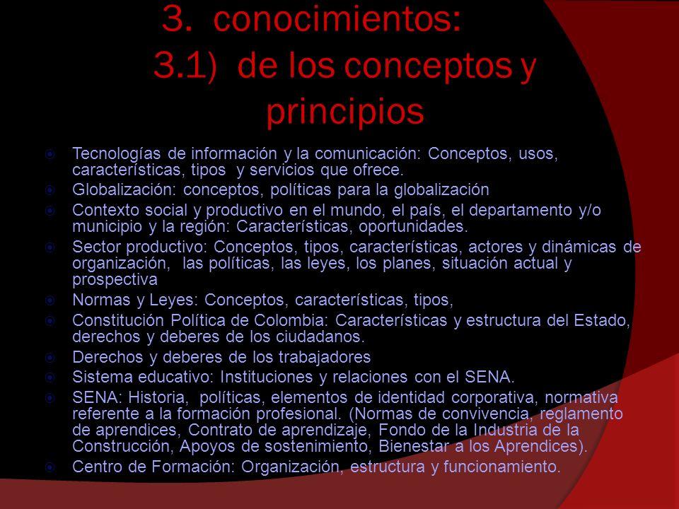 3. conocimientos: 3.1) de los conceptos y principios Tecnologías de información y la comunicación: Conceptos, usos, características, tipos y servicios