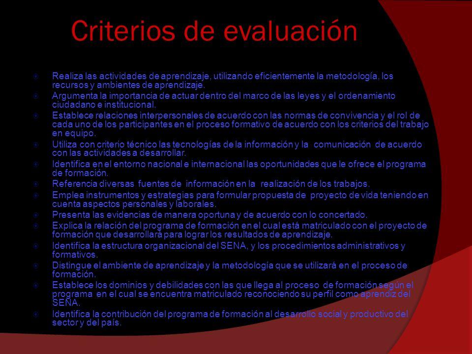 Criterios de evaluación Realiza las actividades de aprendizaje, utilizando eficientemente la metodología, los recursos y ambientes de aprendizaje. Arg
