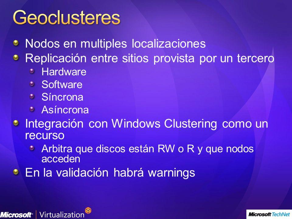Nodos en multiples localizaciones Replicación entre sitios provista por un tercero Hardware Software Síncrona Asíncrona Integración con Windows Clustering como un recurso Arbitra que discos están RW o R y que nodos acceden En la validación habrá warnings