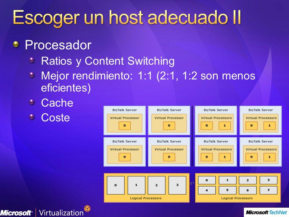 Procesador Ratios y Content Switching Mejor rendimiento: 1:1 (2:1, 1:2 son menos eficientes) Cache Coste