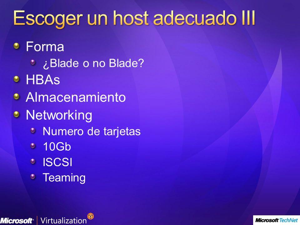 Forma ¿Blade o no Blade? HBAs Almacenamiento Networking Numero de tarjetas 10Gb ISCSI Teaming