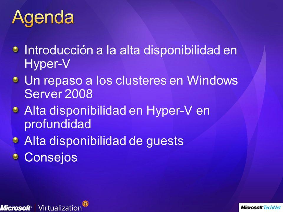 Introducción a la alta disponibilidad en Hyper-V Un repaso a los clusteres en Windows Server 2008 Alta disponibilidad en Hyper-V en profundidad Alta disponibilidad de guests Consejos