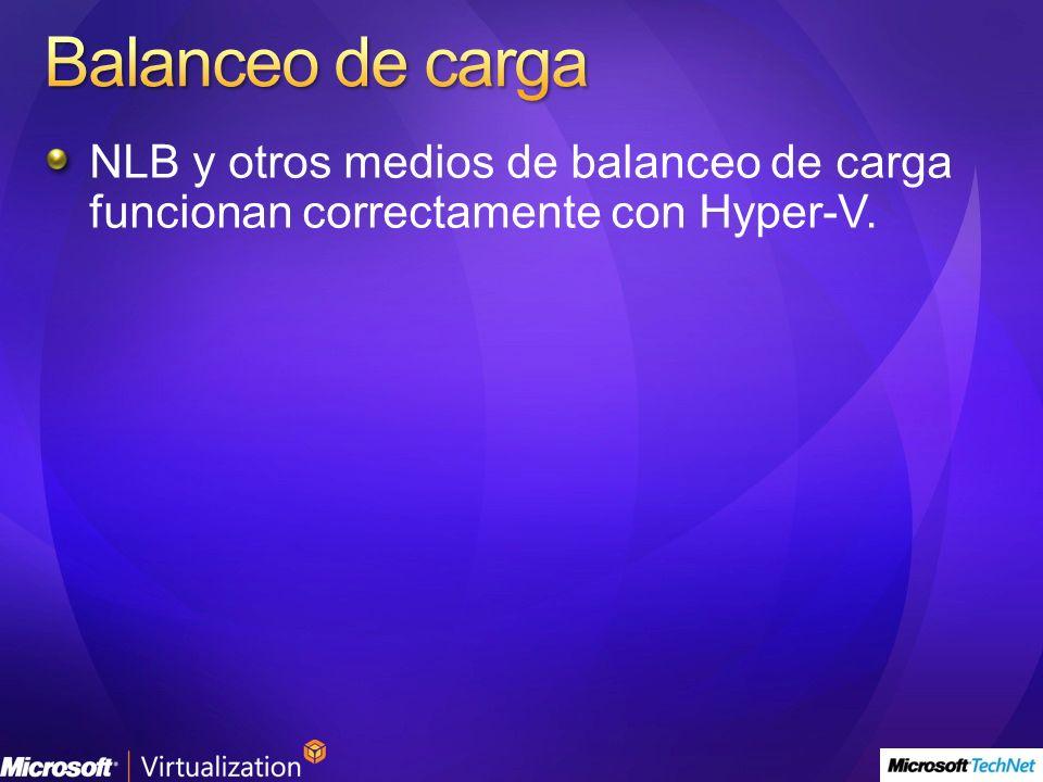 NLB y otros medios de balanceo de carga funcionan correctamente con Hyper-V.
