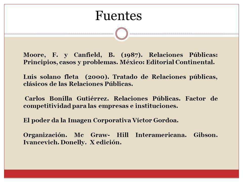 Fuentes Moore, F. y Canfield, B. (1987). Relaciones Públicas: Principios, casos y problemas. México: Editorial Continental. Luis solano fleta (2000).