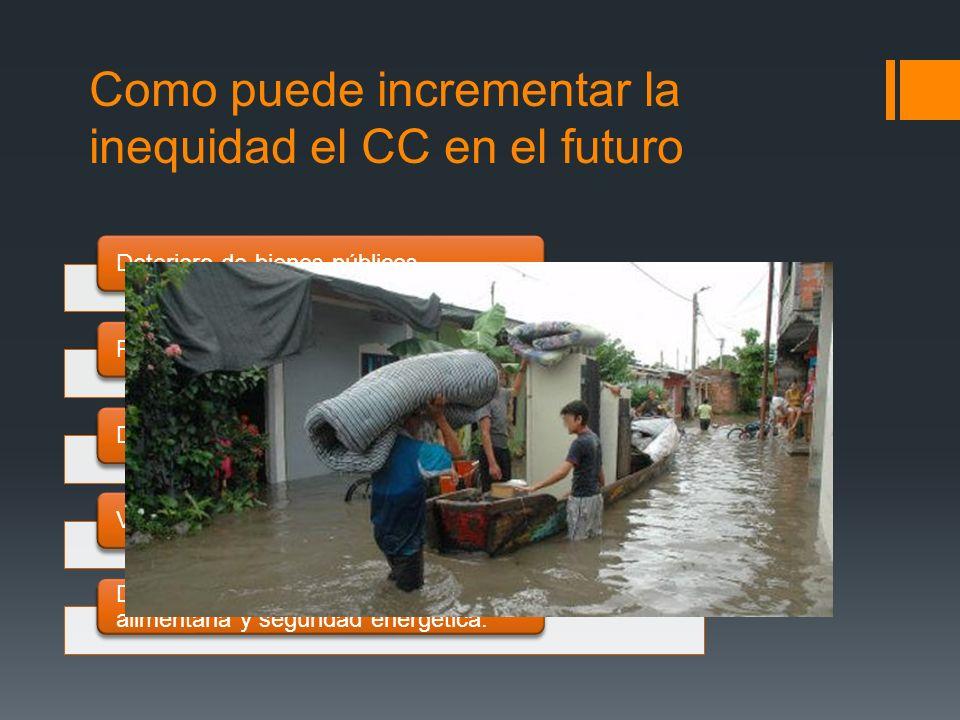 Como puede incrementar la inequidad el CC en el futuro Deterioro de bienes públicosPerdida de activos privadosDeterioro de los ecosistemasVulnerabilid