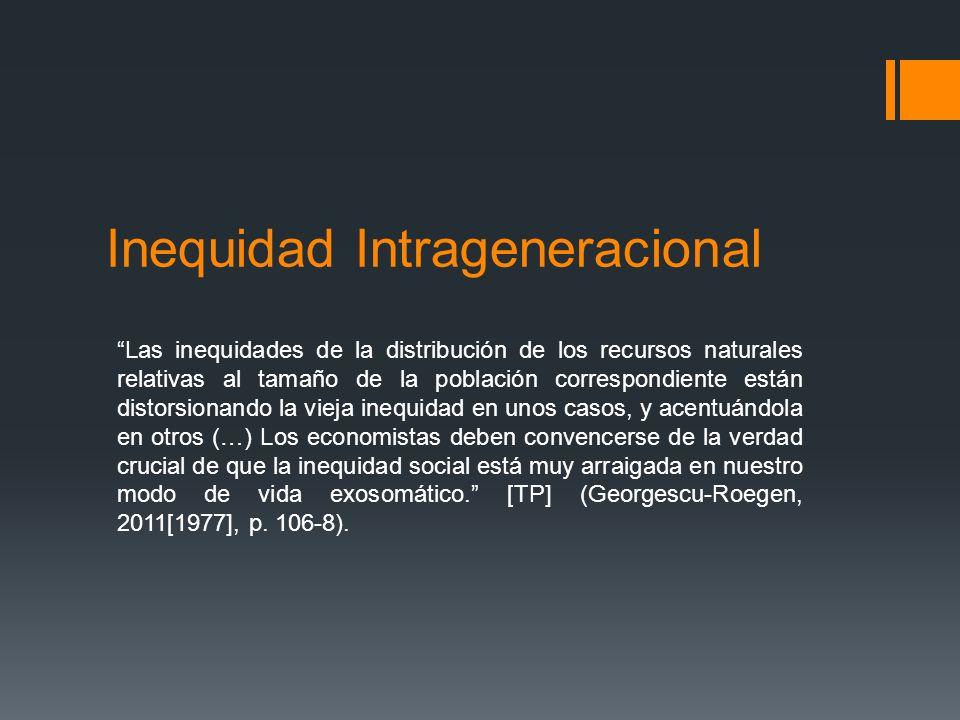 Inequidad Intrageneracional Las inequidades de la distribución de los recursos naturales relativas al tamaño de la población correspondiente están dis