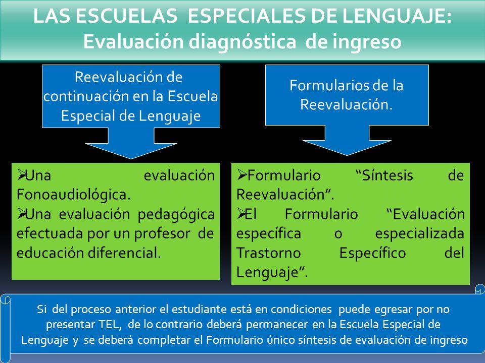 LAS ESCUELAS ESPECIALES DE LENGUAJE: Evaluación diagnóstica de ingreso Reevaluación de continuación en la Escuela Especial de Lenguaje Una evaluación
