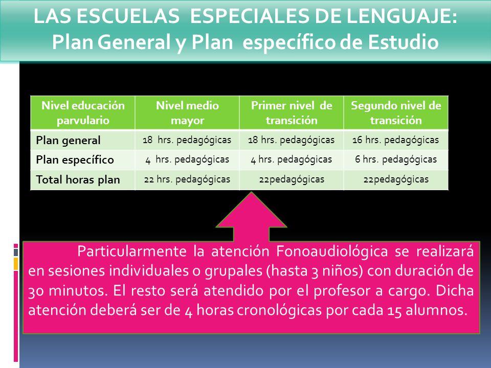 Nivel educación parvulario Nivel medio mayor Primer nivel de transición Segundo nivel de transición Plan general 18 hrs. pedagógicas 16 hrs. pedagógic