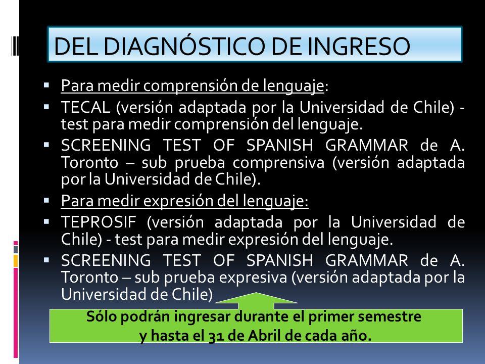 DEL DIAGNÓSTICO DE INGRESO Para medir comprensión de lenguaje: TECAL (versión adaptada por la Universidad de Chile) - test para medir comprensión del