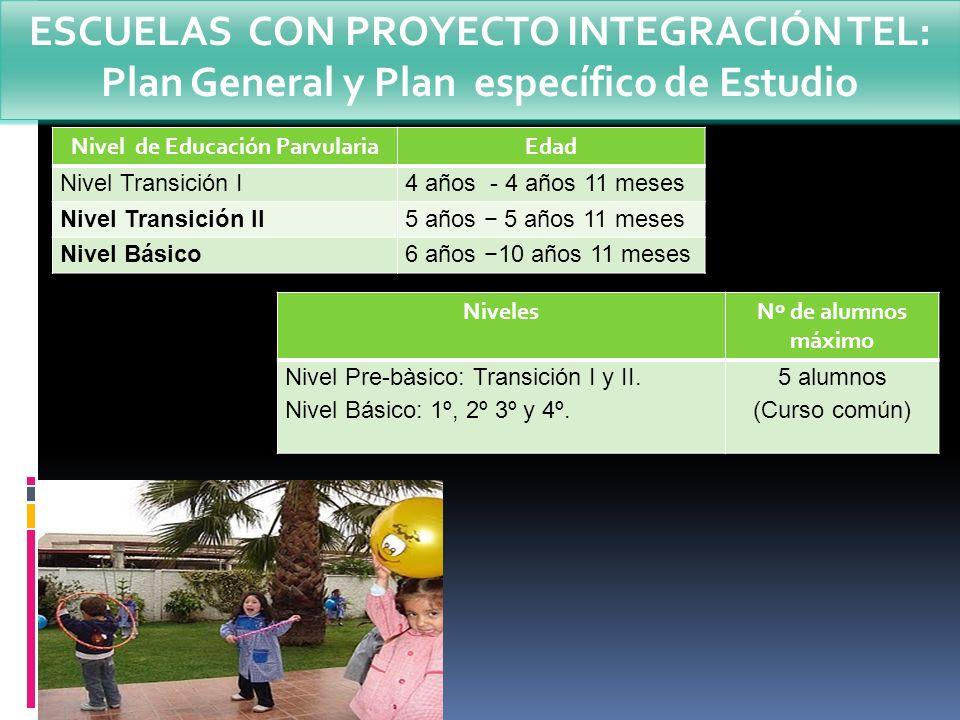 Nivel de Educación ParvulariaEdad Nivel Transición I4 años - 4 años 11 meses Nivel Transición II5 años 5 años 11 meses Nivel Básico6 años 10 años 11 m