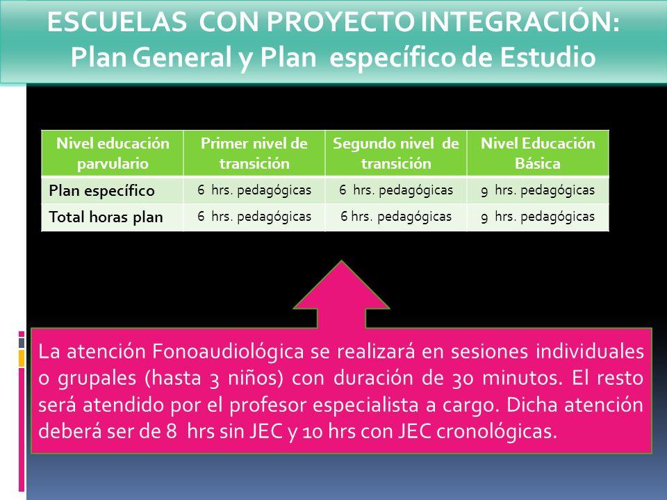 Nivel educación parvulario Primer nivel de transición Segundo nivel de transición Nivel Educación Básica Plan específico 6 hrs. pedagógicas 9 hrs. ped