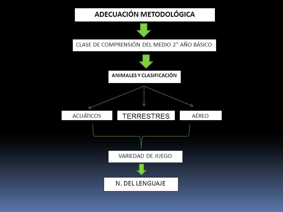 ADECUACIÓN METODOLÓGICA CLASE DE COMPRENSIÓN DEL MEDIO 2° AÑO BÁSICO ANIMALES Y CLASIFICACIÓN ACUÁTICOS TERRESTRES AÉREO VARIEDAD DE JUEGO N. DEL LENG