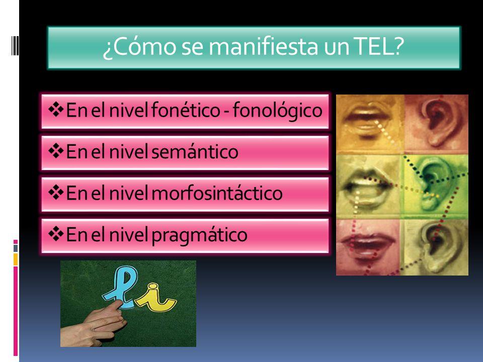 ¿Cómo se manifiesta un TEL? En el nivel fonético - fonológico En el nivel semántico En el nivel morfosintáctico En el nivel pragmático
