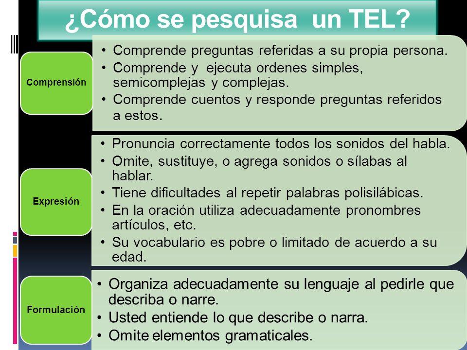 ¿Cómo se pesquisa un TEL? Comprende preguntas referidas a su propia persona. Comprende y ejecuta ordenes simples, semicomplejas y complejas. Comprende