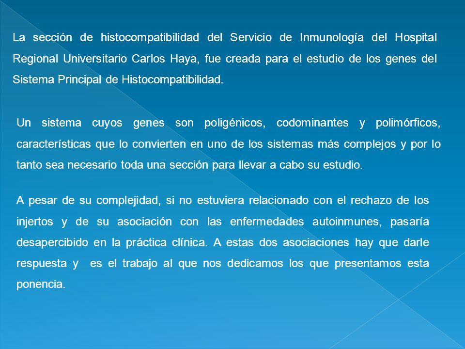La sección de histocompatibilidad del Servicio de Inmunología del Hospital Regional Universitario Carlos Haya, fue creada para el estudio de los genes