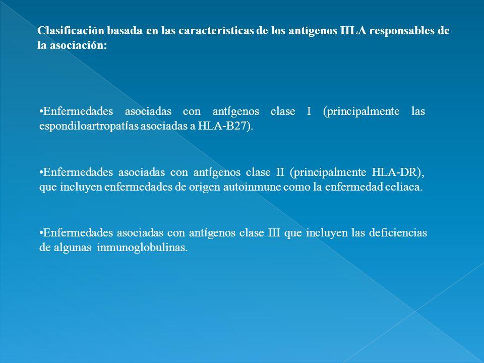 Clasificación basada en las características de los antígenos HLA responsables de la asociación: Enfermedades asociadas con ant í genos clase I (princi