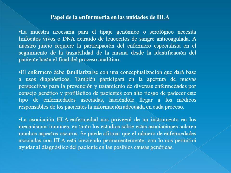 Papel de la enfermería en las unidades de HLA El enfermero debe familiarizarse con una conceptualización que dará base a usos diagnósticos. También pa