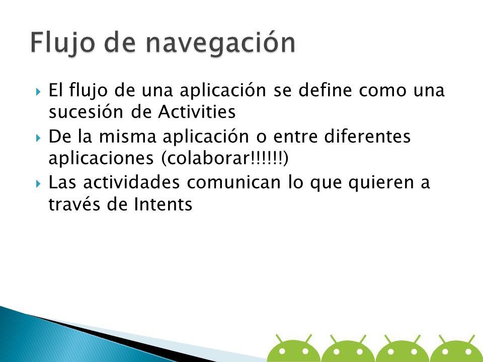 El flujo de una aplicación se define como una sucesión de Activities De la misma aplicación o entre diferentes aplicaciones (colaborar!!!!!!) Las acti