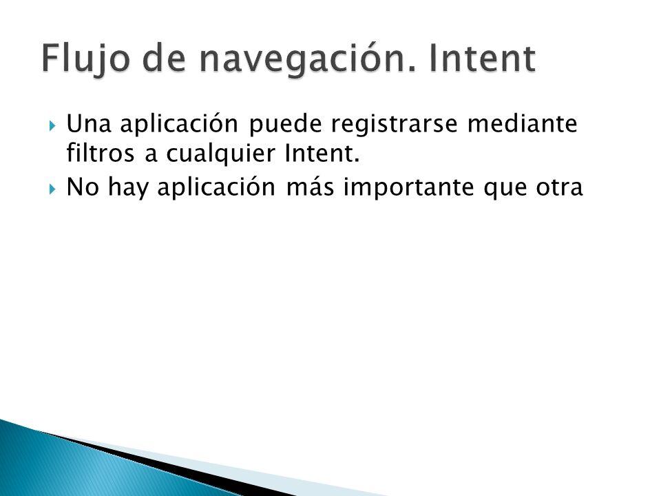 Una aplicación puede registrarse mediante filtros a cualquier Intent. No hay aplicación más importante que otra