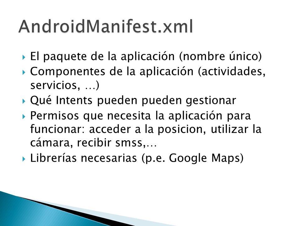 El paquete de la aplicación (nombre único) Componentes de la aplicación (actividades, servicios, …) Qué Intents pueden pueden gestionar Permisos que n