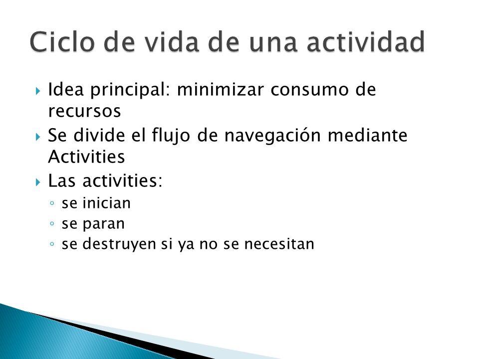Idea principal: minimizar consumo de recursos Se divide el flujo de navegación mediante Activities Las activities: se inician se paran se destruyen si