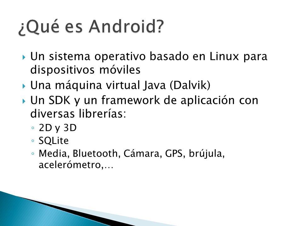 Un sistema operativo basado en Linux para dispositivos móviles Una máquina virtual Java (Dalvik) Un SDK y un framework de aplicación con diversas libr