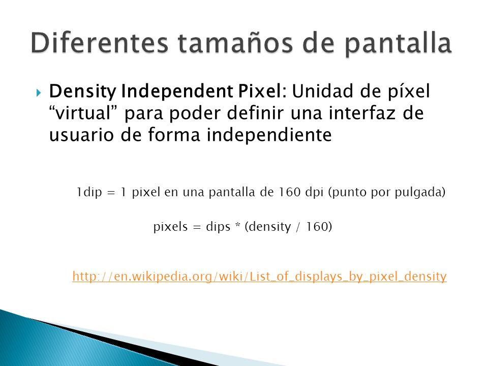 Density Independent Pixel: Unidad de píxel virtual para poder definir una interfaz de usuario de forma independiente 1dip = 1 pixel en una pantalla de
