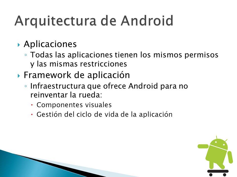 Aplicaciones Todas las aplicaciones tienen los mismos permisos y las mismas restricciones Framework de aplicación Infraestructura que ofrece Android p
