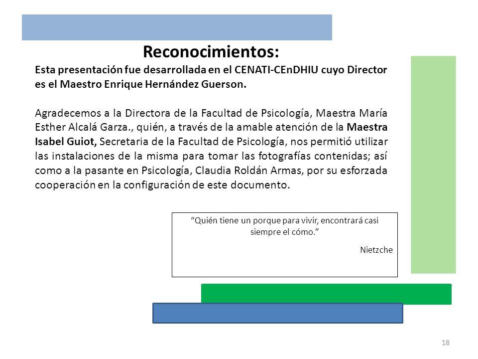 Reconocimientos: Esta presentación fue desarrollada en el CENATI-CEnDHIU cuyo Director es el Maestro Enrique Hernández Guerson. Agradecemos a la Direc