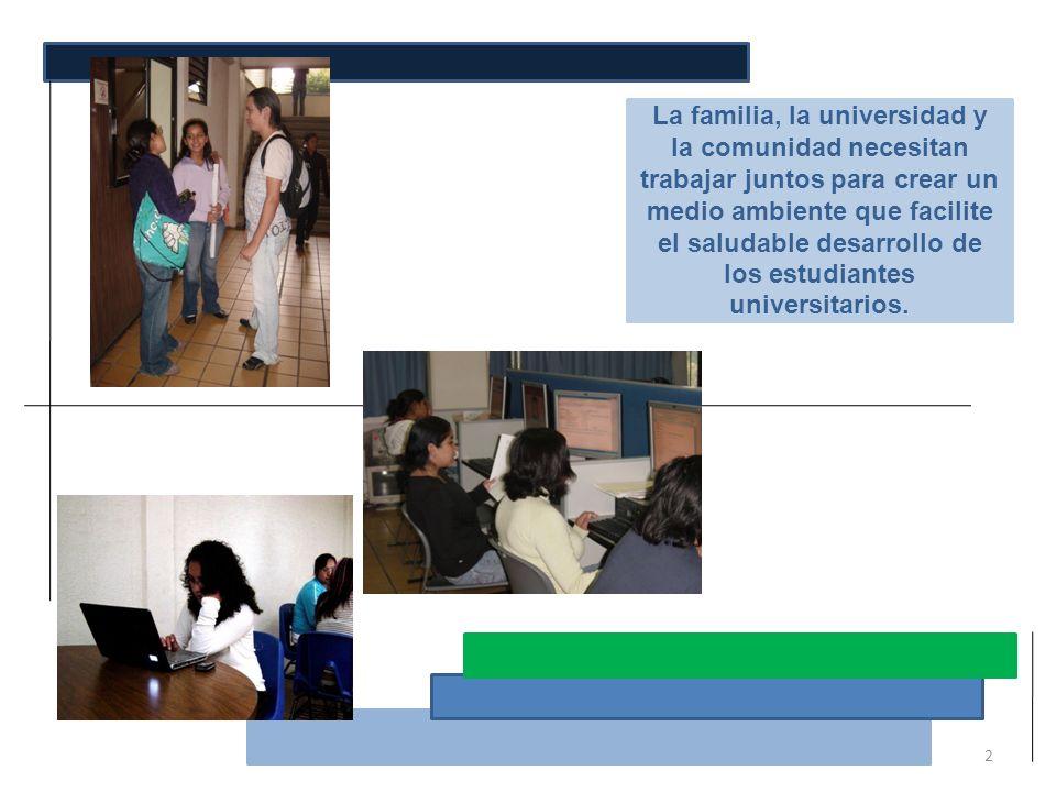 La familia, la universidad y la comunidad necesitan trabajar juntos para crear un medio ambiente que facilite el saludable desarrollo de los estudiant