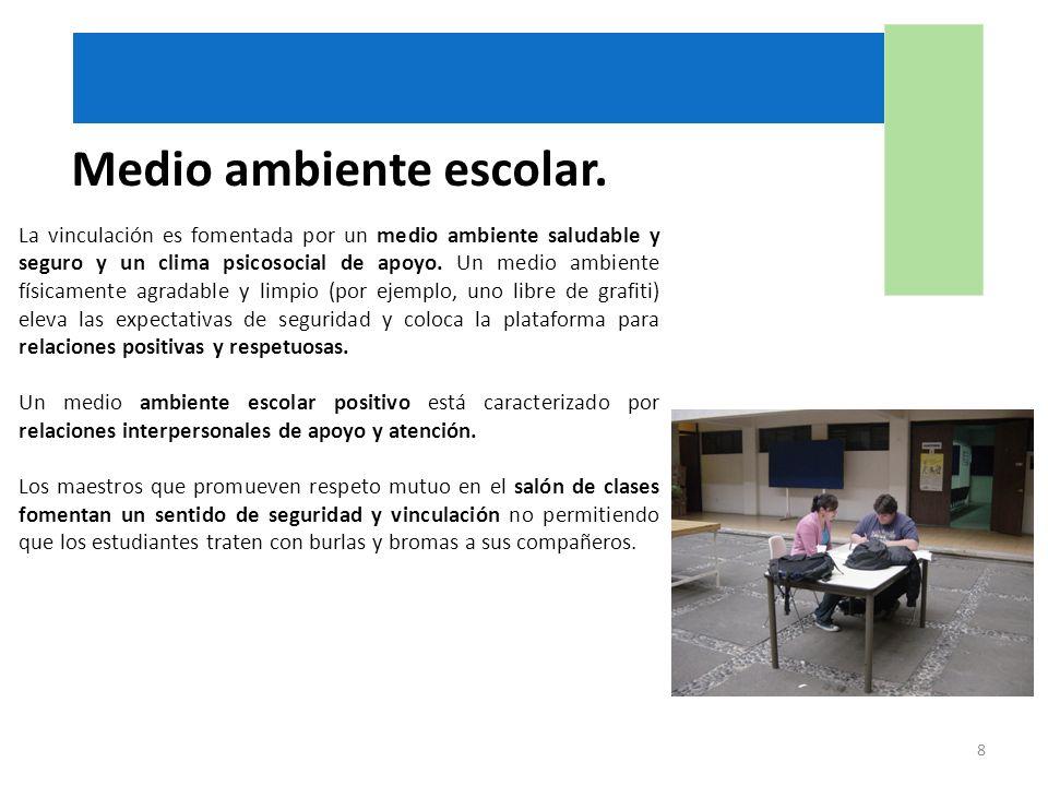 Medio ambiente escolar. La vinculación es fomentada por un medio ambiente saludable y seguro y un clima psicosocial de apoyo. Un medio ambiente física