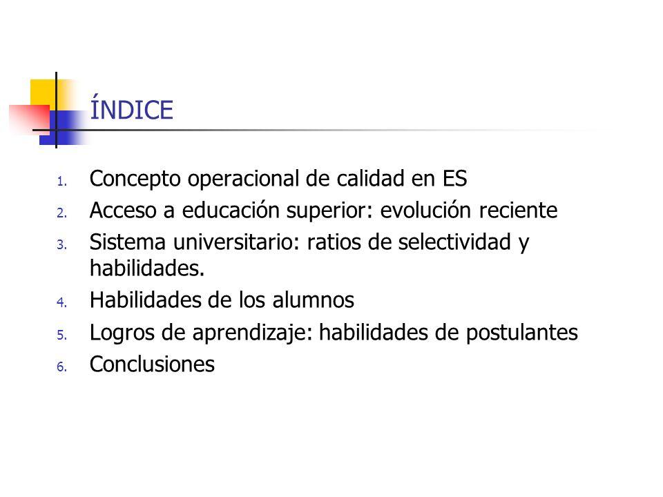 ÍNDICE 1. Concepto operacional de calidad en ES 2. Acceso a educación superior: evolución reciente 3. Sistema universitario: ratios de selectividad y