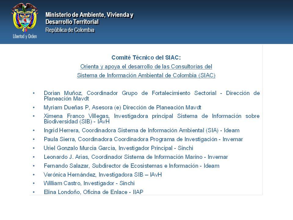 Ministerio de Ambiente, Vivienda y Desarrollo Territorial República de Colombia Ministerio de Ambiente, Vivienda y Desarrollo Territorial República de Colombia Lineamientos de política : –Fortalecer la cultura de la medición (Proyecto Colectivo Ambiental – 1998-2002) –Desarrollar el SIAC y realizar la segunda generación de indicadores de línea base de información ambiental (Plan Nal desarrollo 2002-2006 Hacia un Estado Comunitario) –La visión 2019 Colombia II Centenario incluye las siguientes metas: Consolidar el sistema de información ambiental en los ámbitos nacional, regional y local Consolidar un gobierno para el ciudadano que rinda permanentemente cuentas de su gestión Lograr un gobierno interconectado para garantizar el uso eficiente de la información Crear un sistema estadístico.