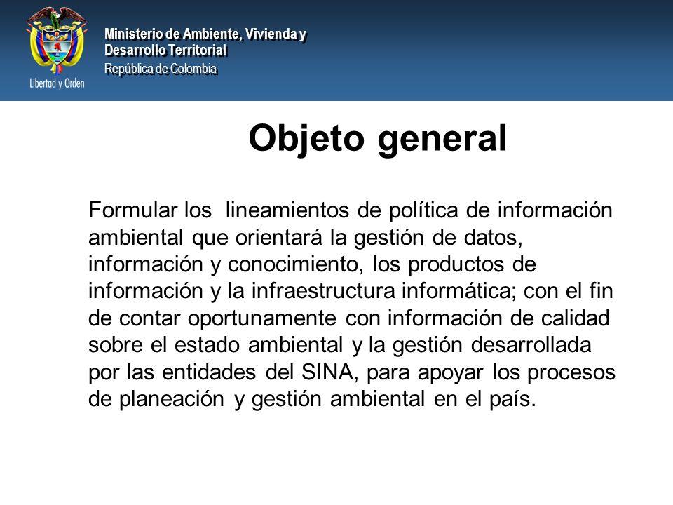 Ministerio de Ambiente, Vivienda y Desarrollo Territorial República de Colombia Ministerio de Ambiente, Vivienda y Desarrollo Territorial República de Colombia POLITICA DE INFORMACION AMBIENTAL INFRAESTRUCTURA DE DATOS PROTOCOLOS Y ESTANDARES MARCO CONCEPTUAL SIAC INFRAESTRUCTURA INFORMATICA SIAC PRODUCTOS DE INFORMACIÓN Estrategia de Desarrollo del SIAC REDES HUMANAS E INSTITUCIONALES SIAC Dueñas, M.