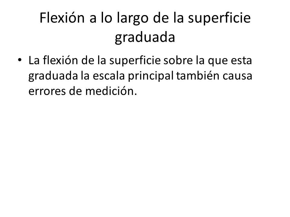 Flexión a lo largo de la superficie graduada La flexión de la superficie sobre la que esta graduada la escala principal también causa errores de medic