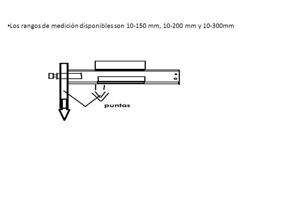 Los rangos de medición disponibles son 10-150 mm, 10-200 mm y 10-300mm