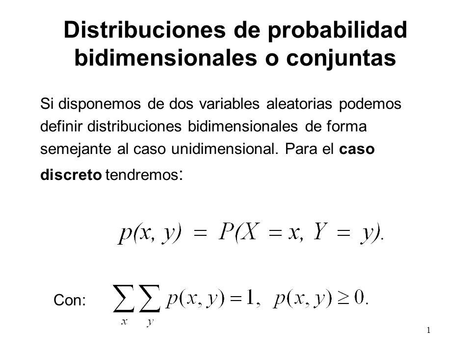 Distribuciones de probabilidad bidimensionales o conjuntas Si disponemos de dos variables aleatorias podemos definir distribuciones bidimensionales de forma semejante al caso unidimensional.