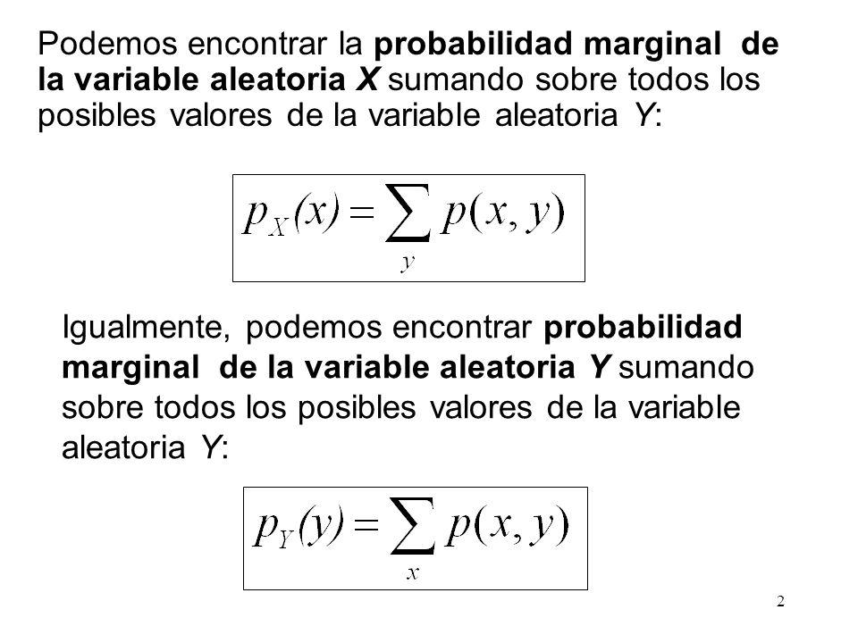 Podemos encontrar la probabilidad marginal de la variable aleatoria X sumando sobre todos los posibles valores de la variable aleatoria Y: Igualmente, podemos encontrar probabilidad marginal de la variable aleatoria Y sumando sobre todos los posibles valores de la variable aleatoria Y: 2